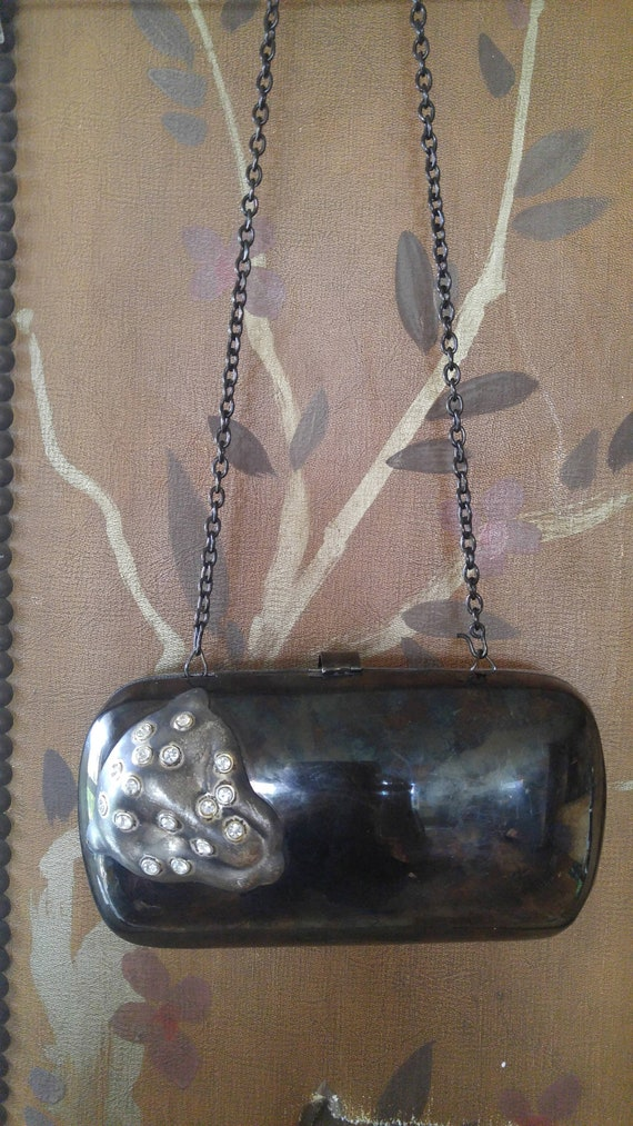 80s metal evening purse / case with Jaguar cat fac