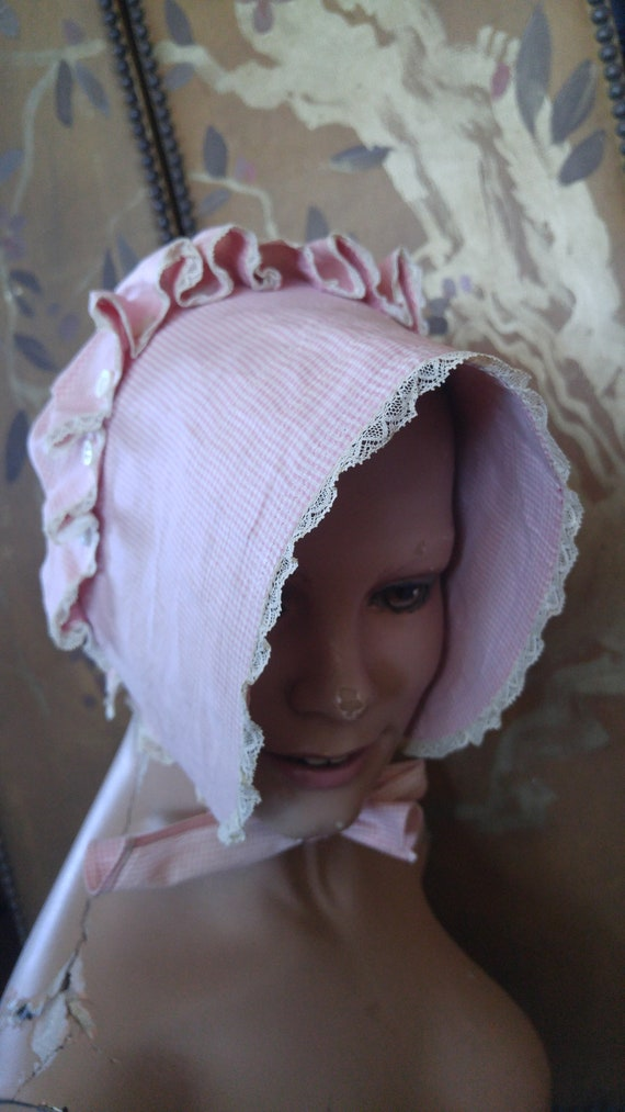 SALE! 40s Pink and white gingham Prairie/ sun/ pok