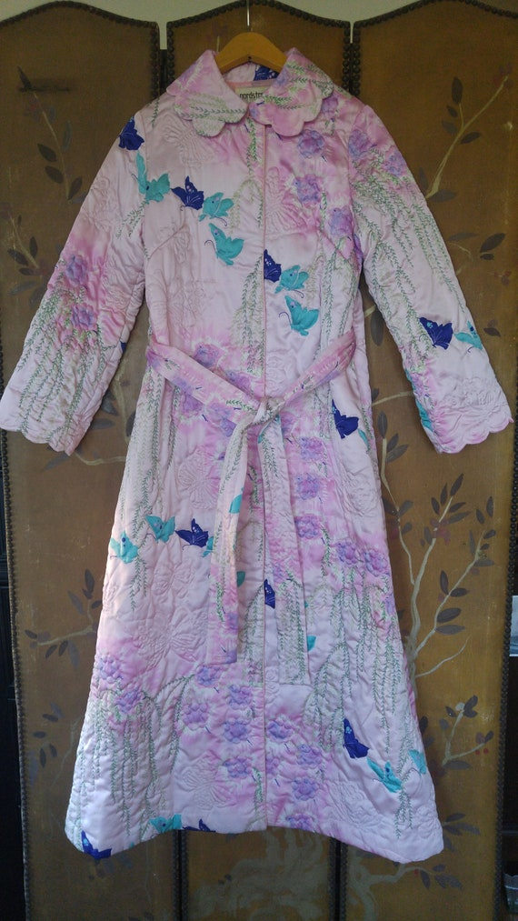 60's pink and purple quilt butterfly dressing gown