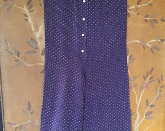 70s Evelyn Pearson Indigo polka dot pantsuit with frilled wide legs