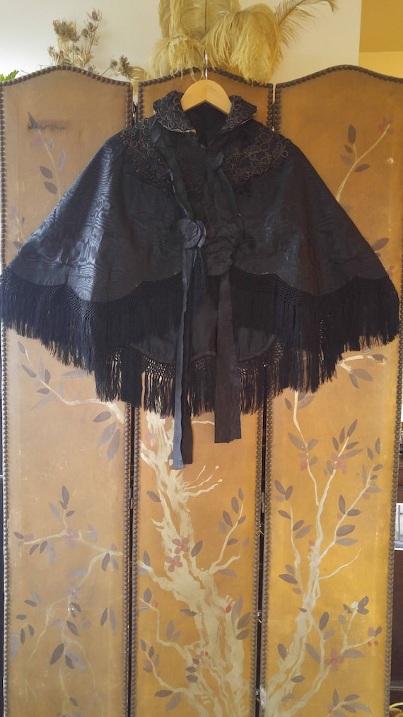 Victorian black brocade embroidered fringed cape