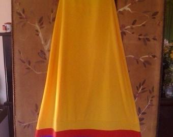 70s Bright yellow maxi sundress by Baba Kea for Liberty House, Honolulu