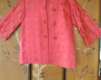 60s hot pink Chinese jacket by I.Magnin & Co