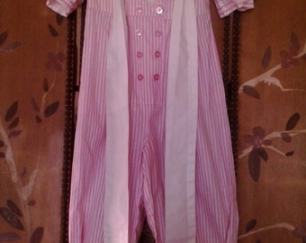 80s childs pink and white pant / sailor suit