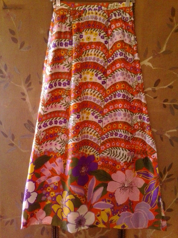 70s psychedelic flower power maxi skirt by Nelly d