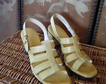 60s lemon yellow leather strappy sandals by Joyce Of California