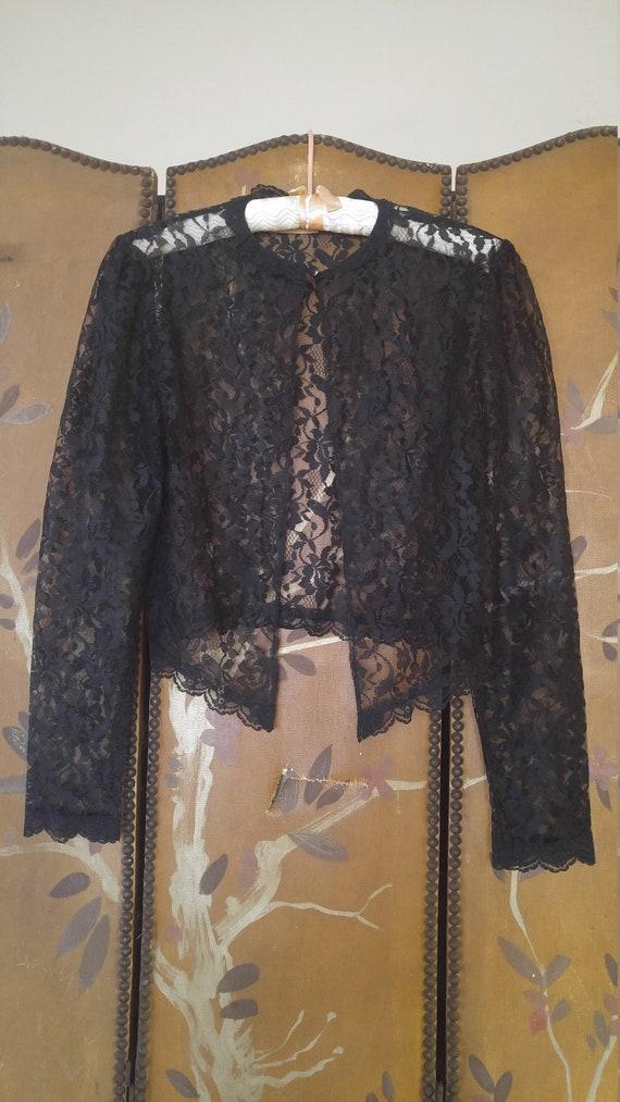 80s Gunne Sax black lace shrug top