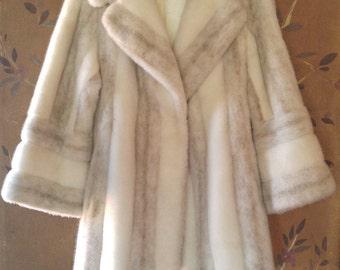 80s faux arctic fox fur coat
