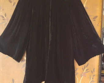 60s black velvet swing coat