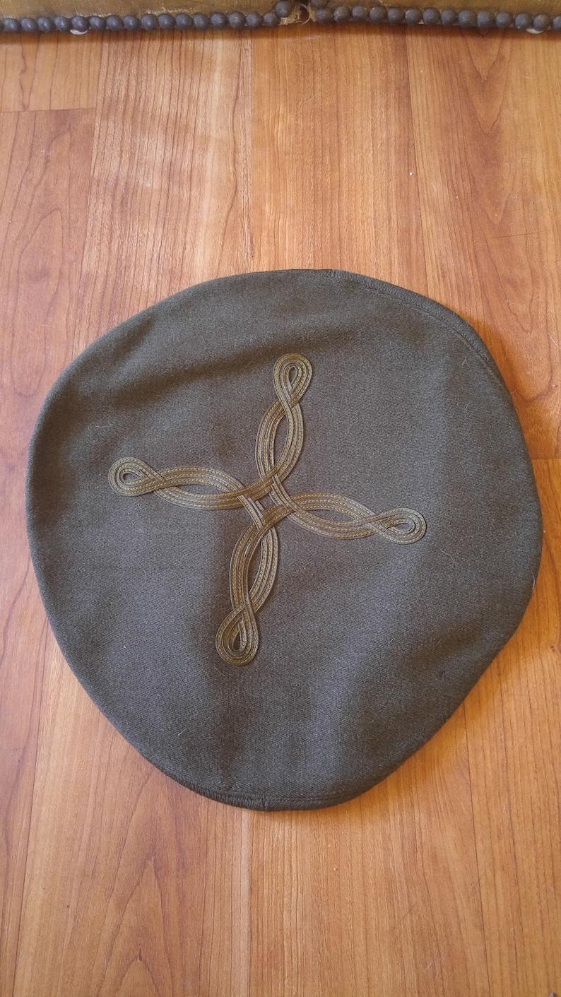 Vintage green Military Beret Tam