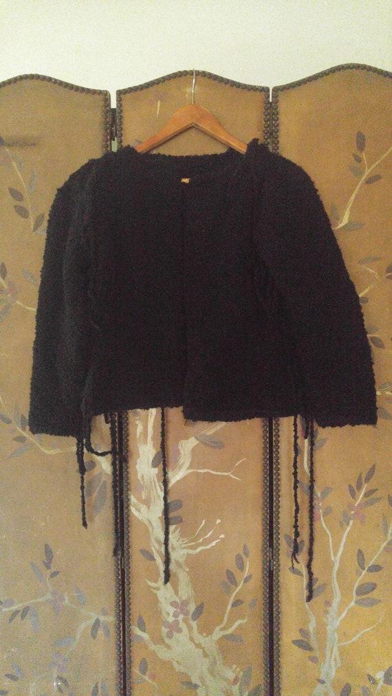 80's Black woolly avant garde jacket with power sh