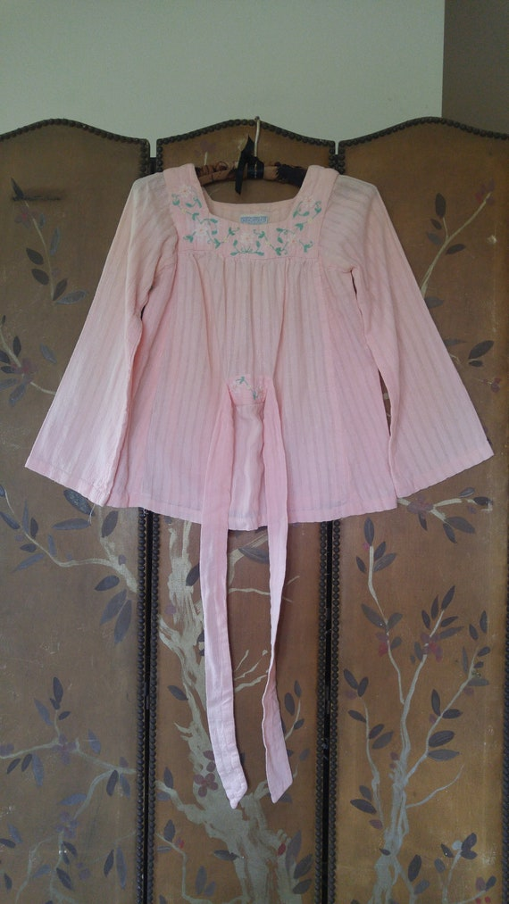 80's peach coloured cheesecloth embroidered peasan