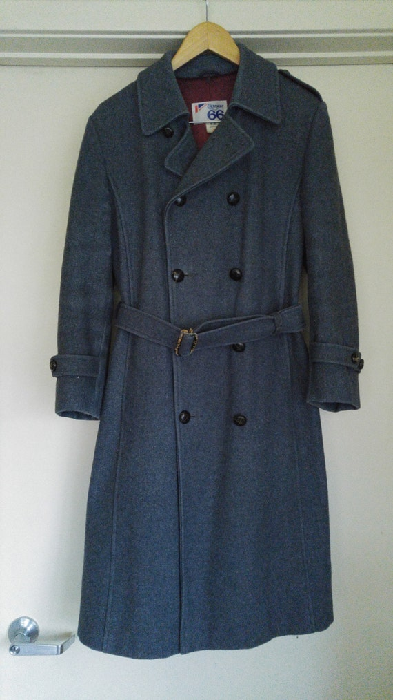 SALE!! 60s / 70s mens long grey Mod wool coat by C