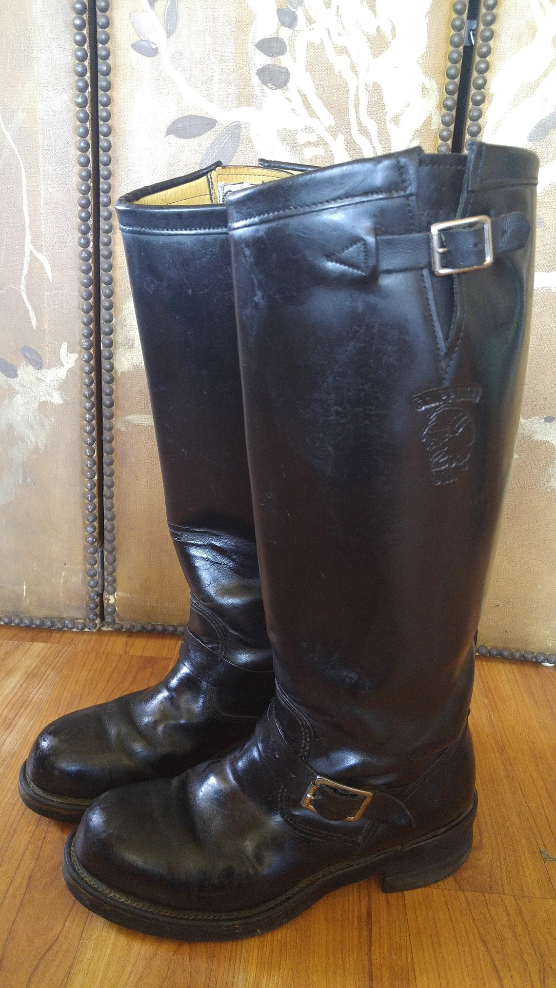 SALE! 80's Black leather Chippewa Men's knee length biker / motorcycle / linesman/ trucker boots