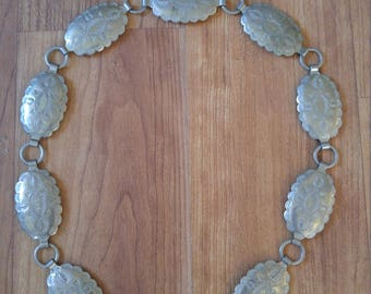 70s metal silver tone little conch belt /necklace