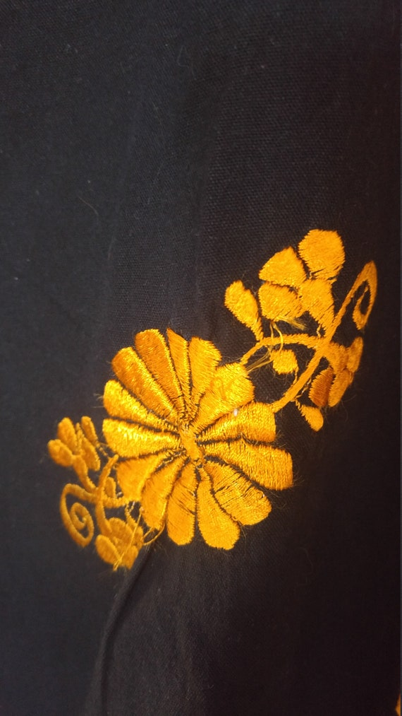 80s Gold Lurex Gypsy Oversize Ornate Floral Blouse