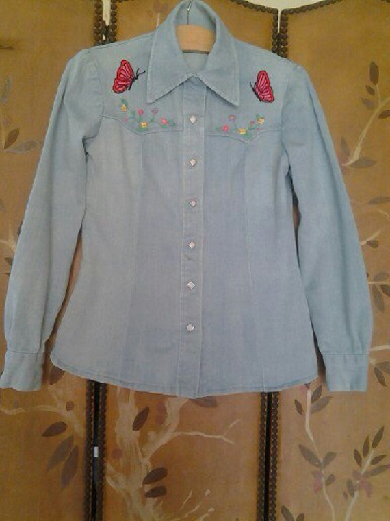 70s embroidered Hippie denim shirt
