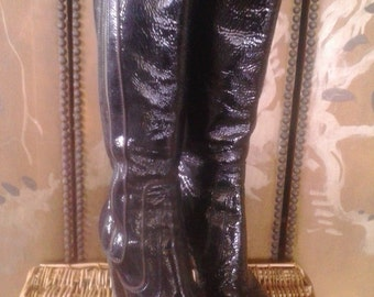 90s Black leather patent high heel boots