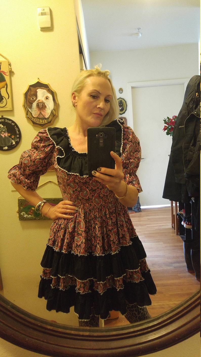 81eb55d087fa 70s paisley and black ruffles full skirt rodeo dress | Etsy