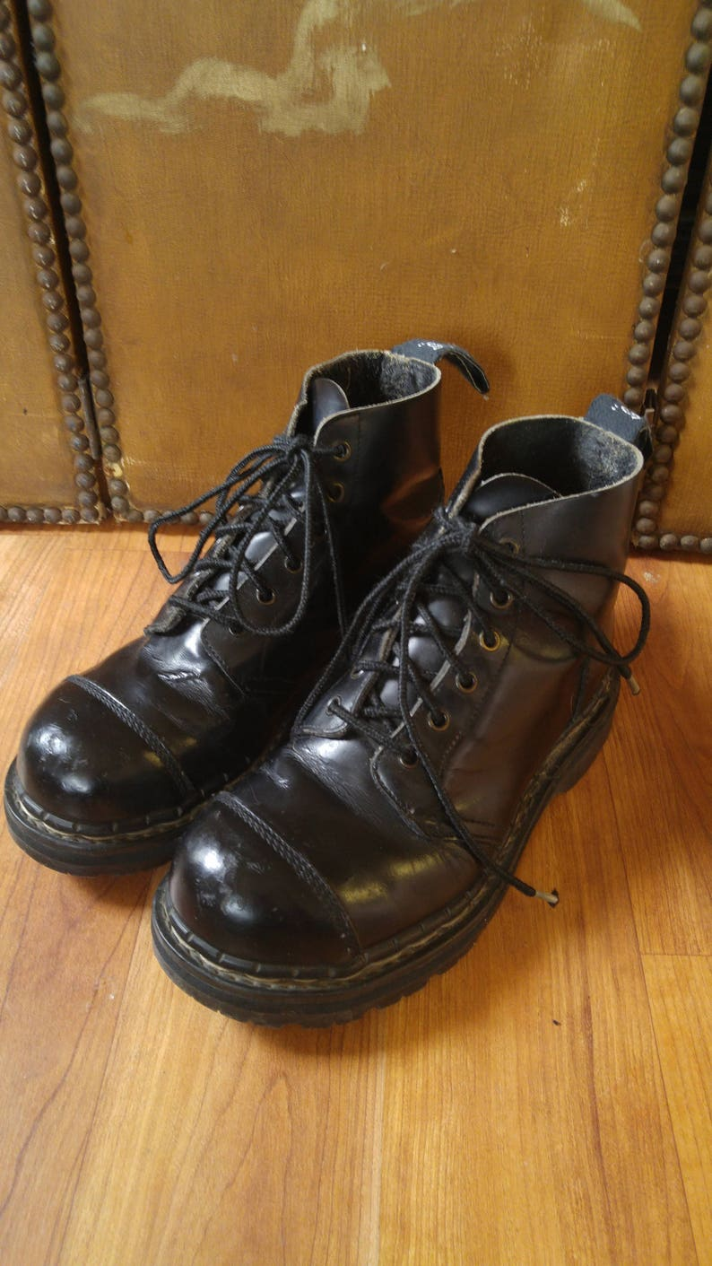 Made in England 80s Black leather steel toe 6 hole lace up Grip Fast Boots