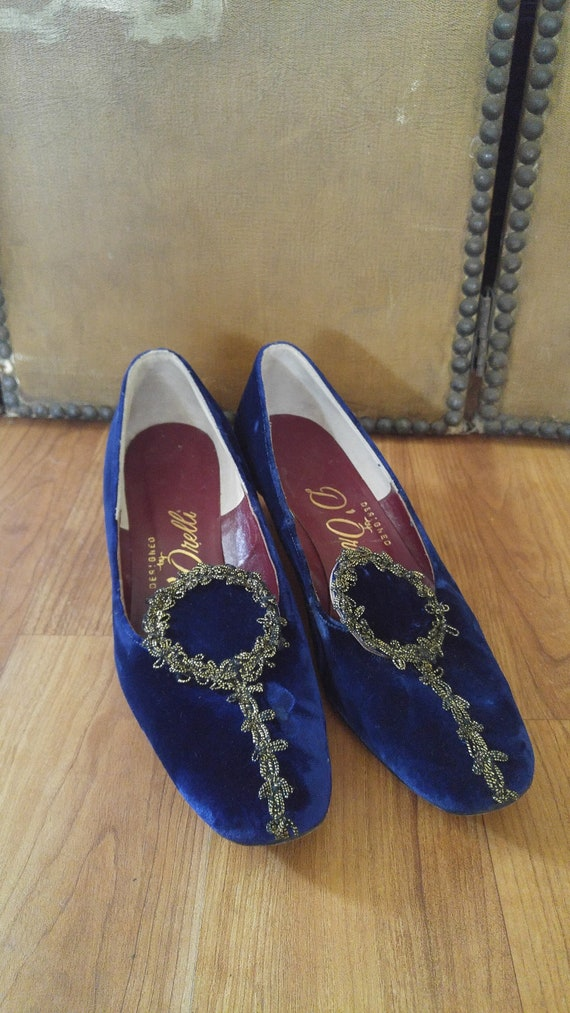 60's blue velvet and gold trim buckle shoes by D'O