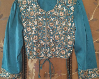 80's teal embroidered and mirror decorated crop jacket with side ties