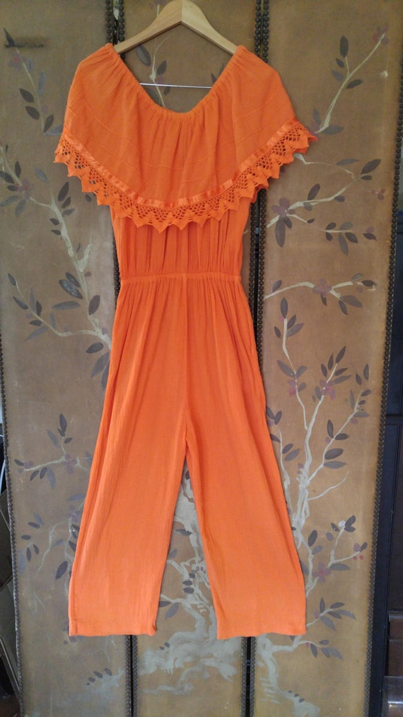 80s Gauze Indian orange jumpsuit with large off th