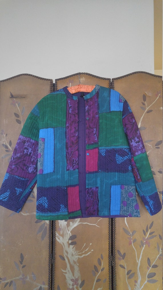 90s Phool colourful patchwork style quilt jacket