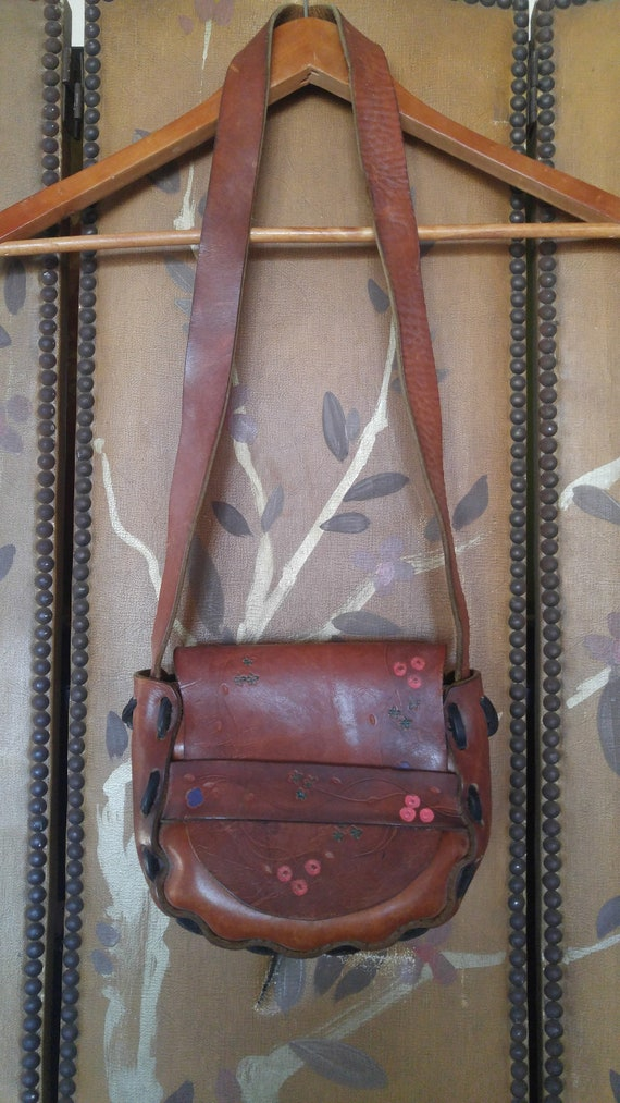 70s flowered Hand tooled leather bag