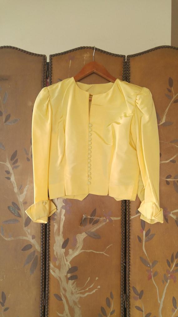 20's yellow sateen crop jacket