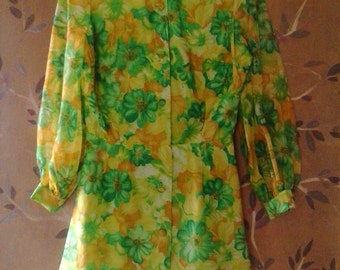 60s bright green flower power dress with sheer sleeves