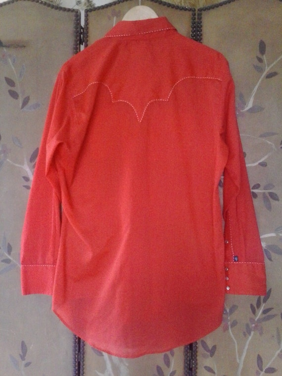 70's Bright red Rockmount Ranchwear Western shirt - image 4