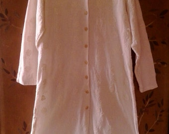 90s boho April Cornell ivory tunic / dress coat