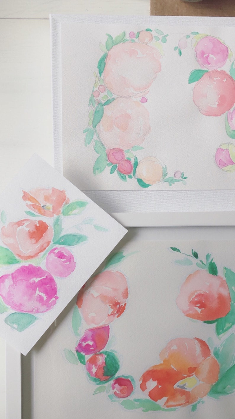 sweet soft coral magenta peonies flower painting PEONY WREATH PAINTING 9 x 12 watercolor floral painting. peach