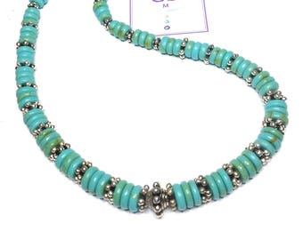 """Handmade 18"""" GENUINE Turquoise Rope NECKLACE  SILVER Accent Beads Magnetic Closure"""