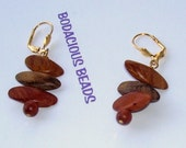 2 quot HANDMADE WOODEN EARRINGS with Rich Cherry Tones and Gold plated Lever Backs