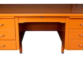 1930's to 1950's Vintage American Desk in Hermes Orange Lacquer