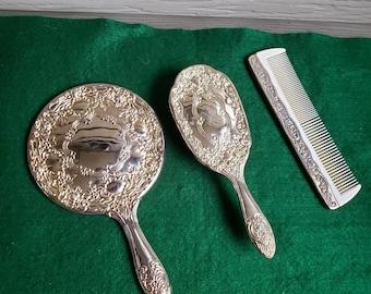 Asian Silverware Set Ebony and Brass Fukurokujo Dessert or Appetizer Serving Set Hong Kong