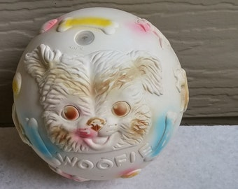 Vintage 1961 Edward Mobley Co. Squeak Toy Ball, Mittens & Woofie, Dog and Cat