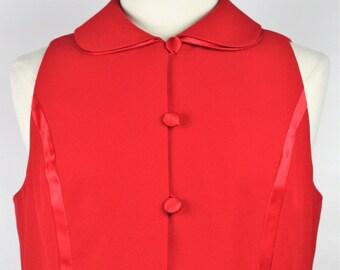 Womens Vintage 1980s Red Peter Pan Collar Sleeveless Tulip Hem Top Satin Bow Detail Size 12