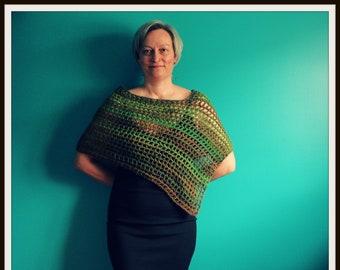 Crochet Poncho,Triangle Shawl,Knit Poncho,Pullover Shawl,Lightweight Poncho,Green Poncho,Brown Poncho,Shawl Wrap