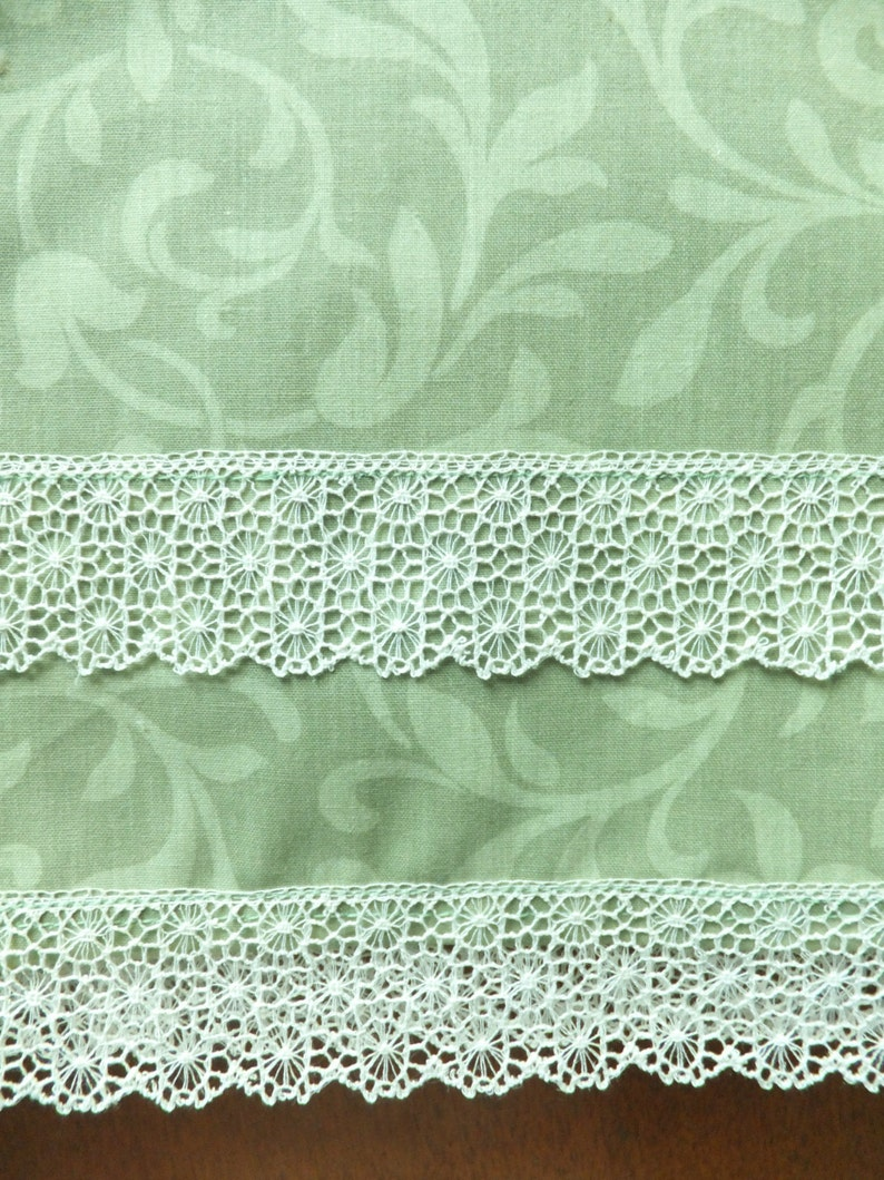Soft Olive Green Tea Towels with Lace Set of 2