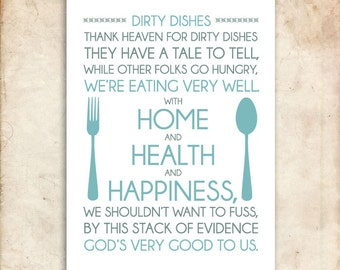 Dirty Dishes. 8x10. PDF. DIY Printable Home Decor.