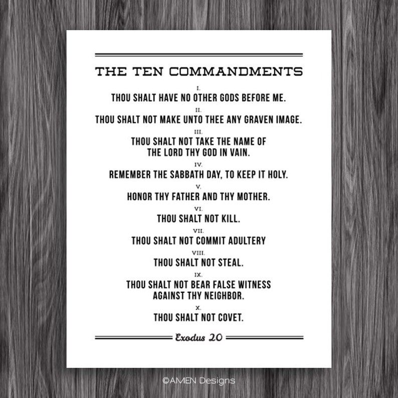 graphic about Ten Commandments Printable referred to as The 10 Commandments. Printable Design and style. For 11x14\