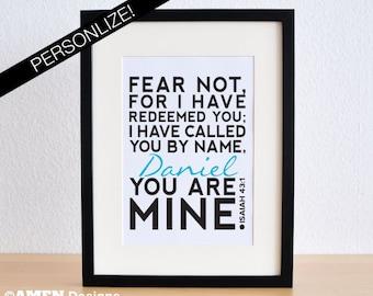 Printable Christian Poster. Redeemed. Isaiah 43:1. 8x10. DIY. PDF.Bible Verse. Personalize.