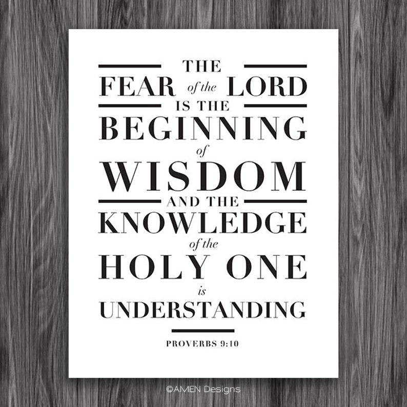 Proverbs 9:10  Beginning of Wisdom  8x10  DIY Printable Christian Poster   PDF  Bible Verse
