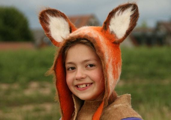 Red Fox Hat Fox Felted Hat Fox Earflap Kids Adults Etsy