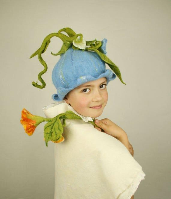 Blue Bellflower Felted Hat Flower Party Headwear Fairy Hat Etsy