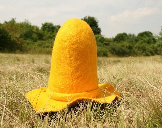 Yellow Farmers Wide Brim Floppy Felted Hat Pettson Hat Etsy