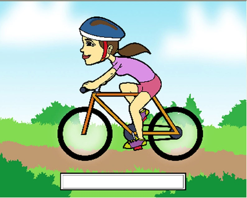 Cyclist Female Cartoon Character Personalized Matted Print  aa999f08b